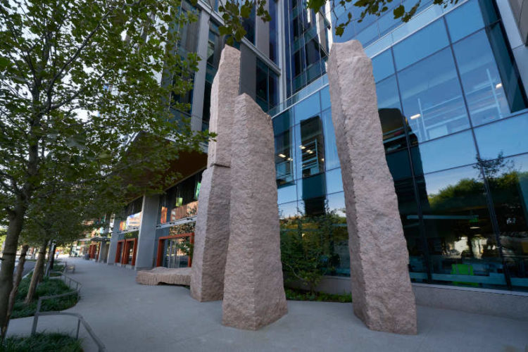 """The """"Standing Stones"""" installation at 50-60 Binney Street in Cambridge, MA"""