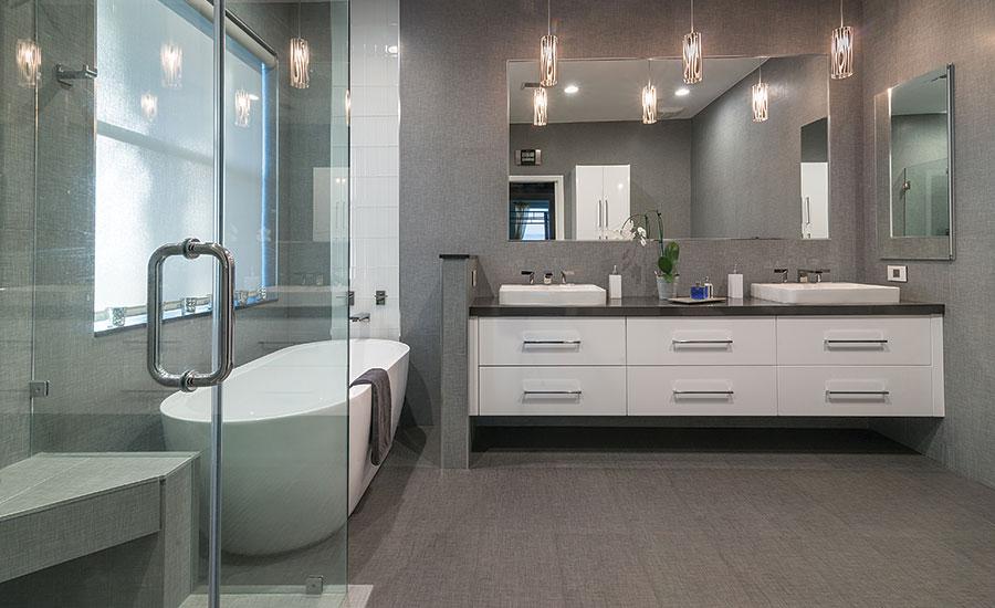 For a residential remodel a neutral palette of porcelain - Ceramic tile bathroom countertops ...