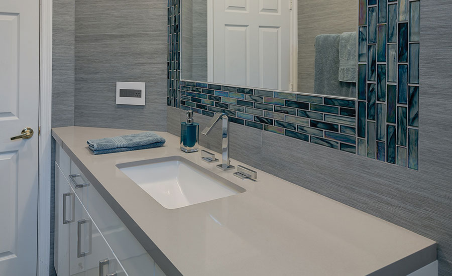For a residential remodel a neutral palette of porcelain ...