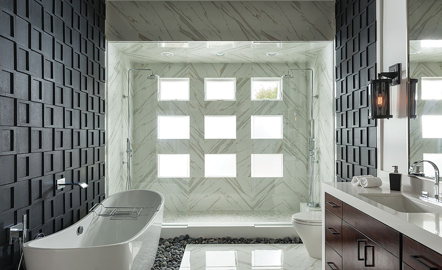 A master bathroom is transformed, using plenty of natural light and ...