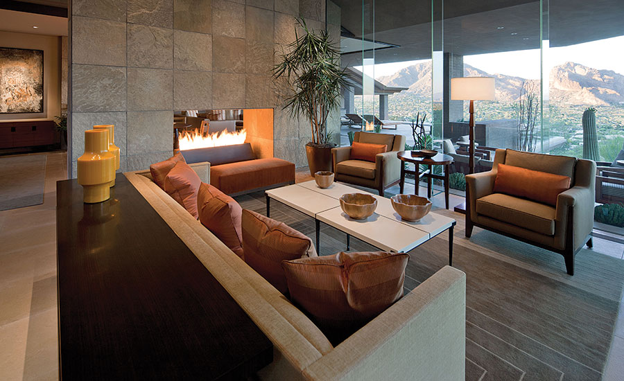 Fossil Creek flagstone fireplace
