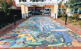 Mosaic mural patio outside of TD Bank in Little Havana, FL