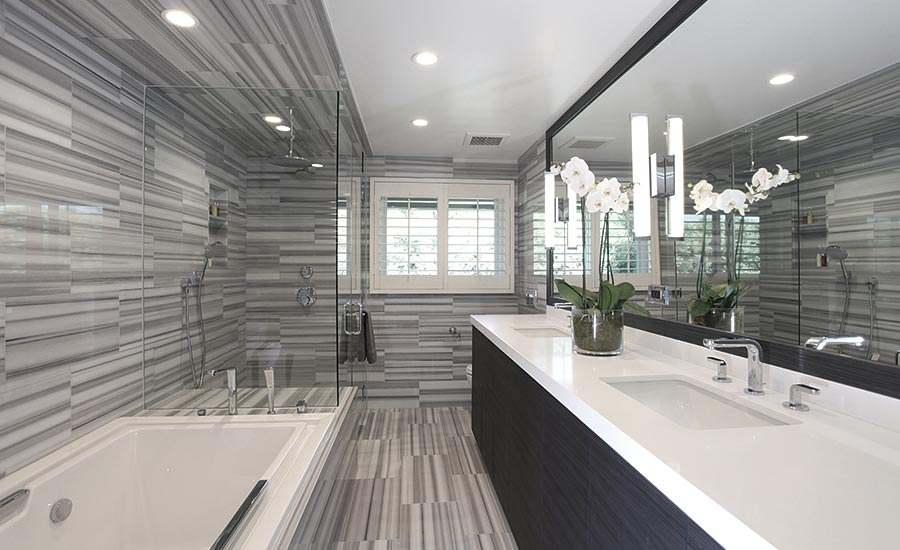 California Bathroom transforming two outdated southern california bathrooms using