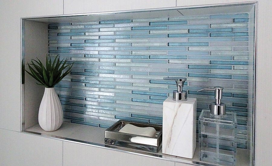Designer uses large-format tile to transform a small space