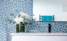 Pebble-like mosaic from Island Stone's glass tile series, Spindrift