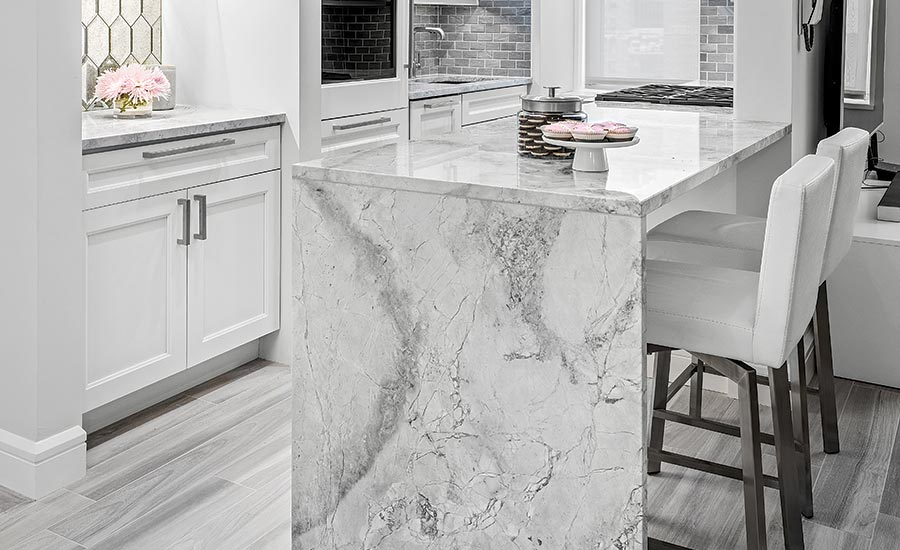 marble and glass tile backsplashes