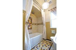 Bumblebee tile bathroom