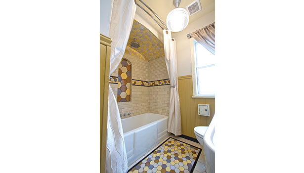 Bumblebee tile bathroom