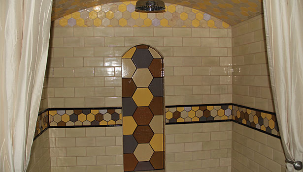 Bumblebee tile shower walls