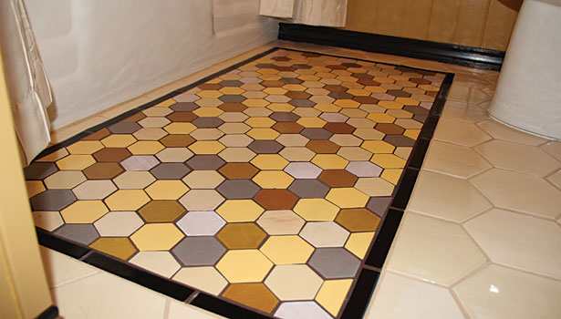 small-format, custom mesh-mounted honeycomb tiles
