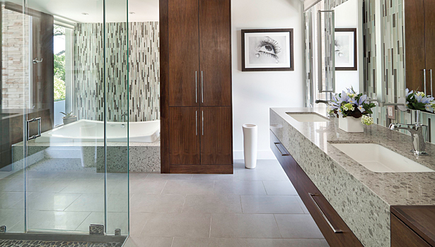Modern Master Bathroom Designs: Glass Mosaics Contribute To Luxurious Master Bath Design