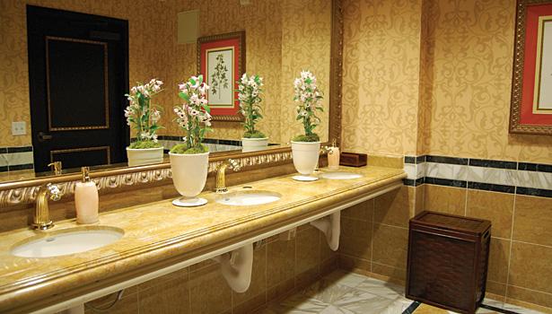 Amaya La Jolla Restaurant bathroom. Handcrafted marble defines California restaurant   2014 01 08