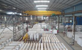 quartz slabs in warehouse