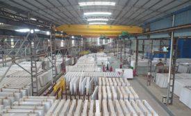 quartz slabs in warehouse
