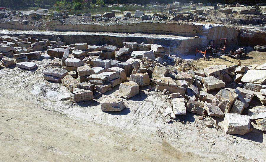 Sandstone blocks extracted from quarry of Russell Stone Products, Inc.