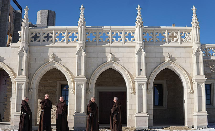Monks fabricate stone for monastery