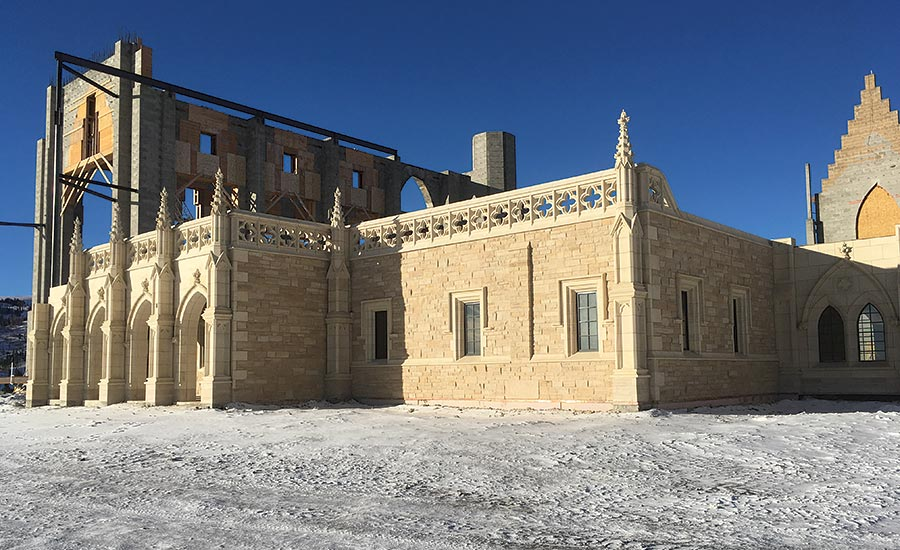 Monks use Kansas Silverdale limestone for their monastery
