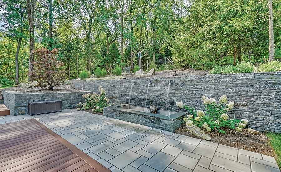 stone wall with fountain