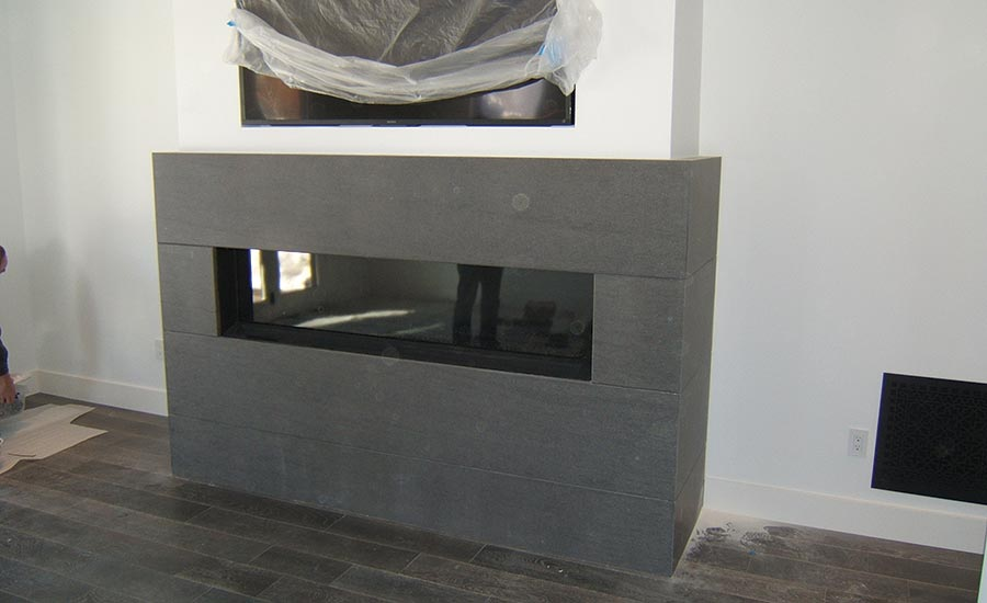 floor-to-ceiling fireplace stonework