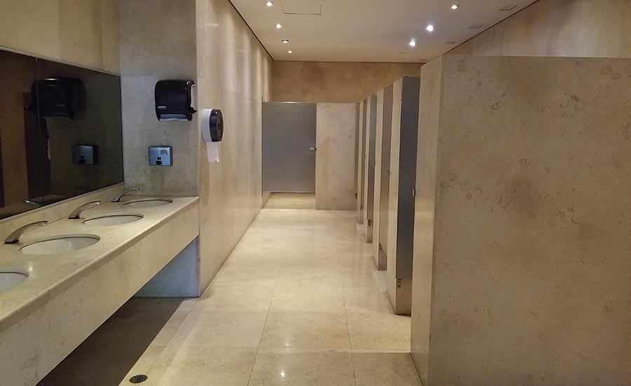 Stone applications in busy bathrooms