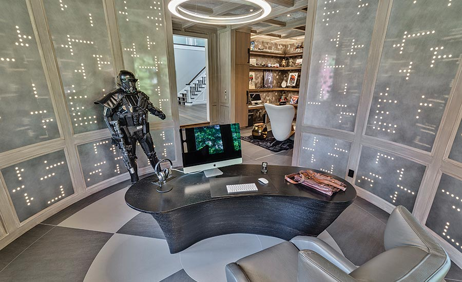A Star Wars-themed home office is realized with Neolith...