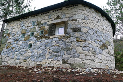 stone cabin with French limestone
