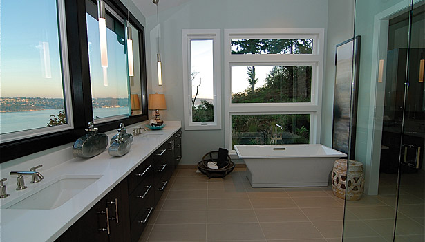 Pure White Caesarstone master bathroom