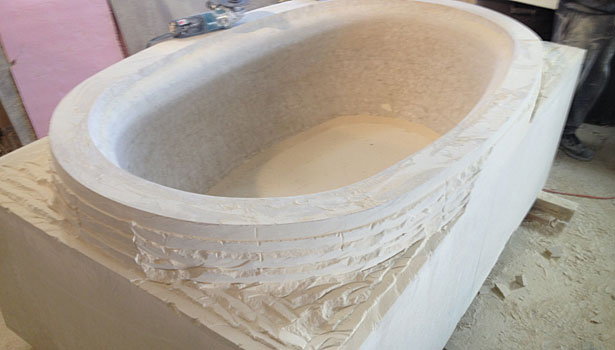 stone carving of tub