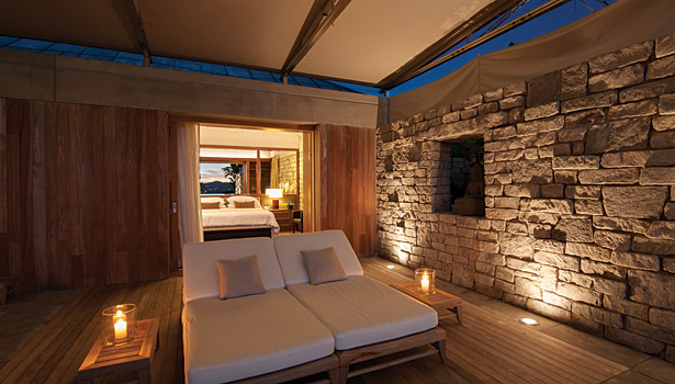 stone wall bedroom