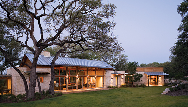 Local Limestone Ties Together On Spanish Style Texas Ranch