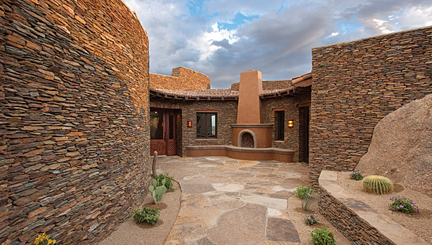 Intricate Stonework Helps Blend Home Into Natural