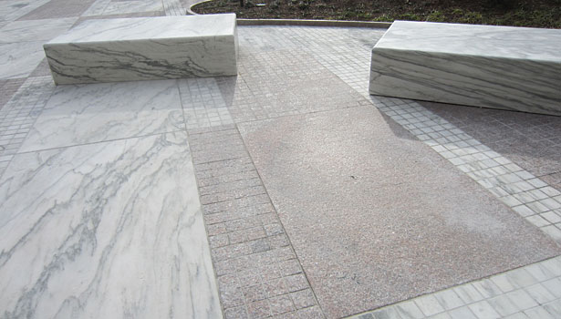 Jakob K. Javits Federal Building Plaza marble benches