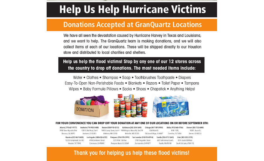 Granquartz Collecting Donations For Hurricane Relief 2017 09 06