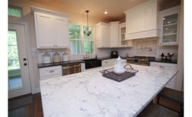 White Fusion quartzite kitchen countertop