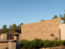 Dry-stacked natural stone pieces