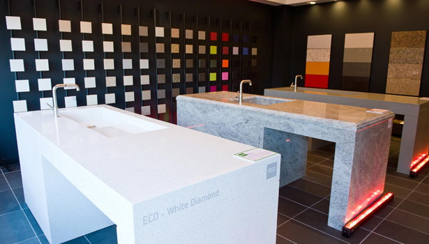 A Selection Of Countertops In Cosentino Brands Are Prominently On Display  In The New Design Center. Pictured Left To Right: ECO Recycled Surface In  White ...