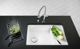 The Blanco Precis medium dingle sink with drainer.